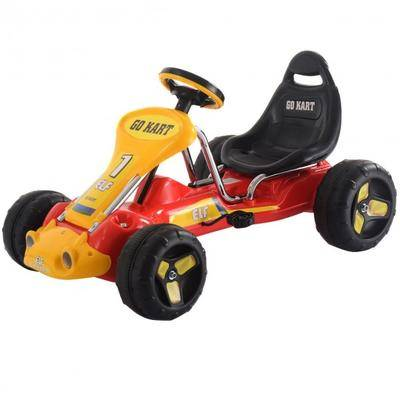 Costway Go Kart Kids Ride On Car Pedal Powered Car 4 Wheel Racer Toy Stealth Outdoor-Red