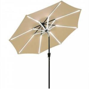 Costway 9Ft Solar LED Market Umbrella with Aluminum Crank Tilt 16 Strip Lights-Beige