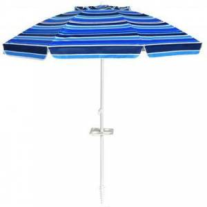 Costway 7.2 FT Portable Outdoor Beach Umbrella with Sand Anchor and Tilt Mechanism for Poolside and Garden-Navy