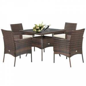 Costway Outdoor 5PCS Dining Table Set with 1 Table and 4 Single Sofas