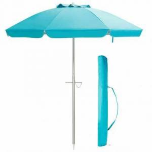 Costway 6.5 Feet Beach Umbrella with Sun Shade and Carry Bag without Weight Base-Blue