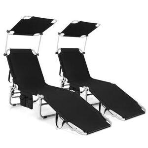 Costway Adjustable Outdoor Beach Patio Pool Recliner with Sun Shade-Black