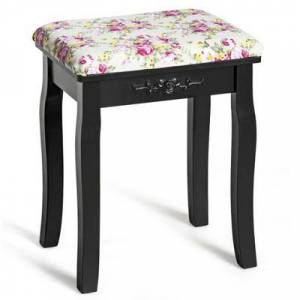 Costway Vanity Wood Dressing Stool Padded Piano Seat with Rose Cushion-Black