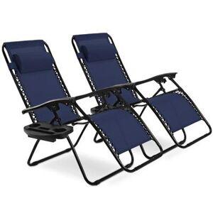 Costway 2 pcs Folding Lounge Chair with Zero Gravity