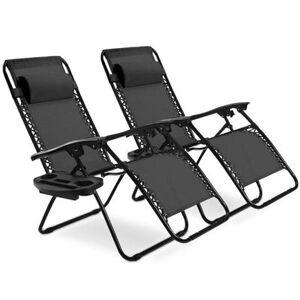 Costway 2 pcs Folding Recliner Zero Gravity Lounge Chair - Black