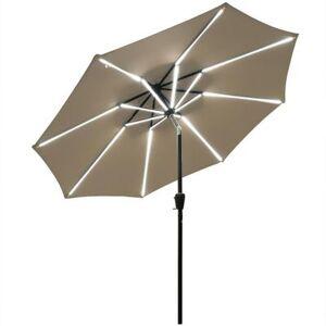 Costway 9Ft Solar LED Market Umbrella with Aluminum Crank Tilt 16 Strip Lights-Tan