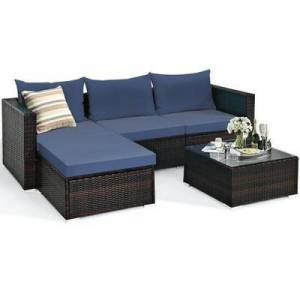 Costway 5 Pieces Patio Rattan Sectional Furniture Set with Cushions and Coffee Table -Navy