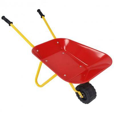 Costway Outdoor Garden Backyard Play Toy Kids Metal Wheelbarrow-Red