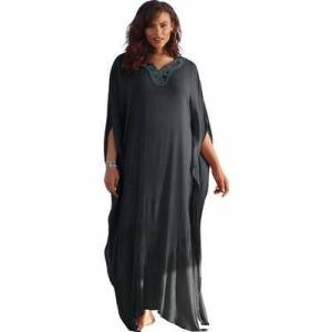 Swim 365 Plus Size Women's Long Embellished Cover Up by Swim 365 in Black (Size 18/20)