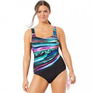 Swimsuits For All Plus Size Women's Chlorine Resistant Lycra Xtra Life Tank One Piece Swimsuit by Swimsuits For All in Starburst (Size 14)