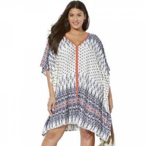 Swimsuits For All Plus Size Women's Kelsea Cover Up Tunic by Swimsuits For All in Blue Boho Coral (Size 10/12)