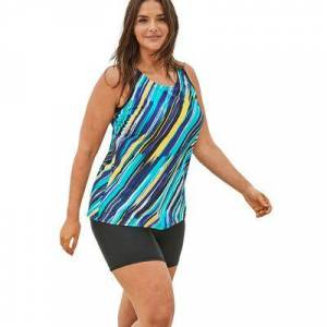 Swim 365 Plus Size Women's Longer Length Tankini Top by Swim 365 in Turq Painterly Stripe (Size 14)