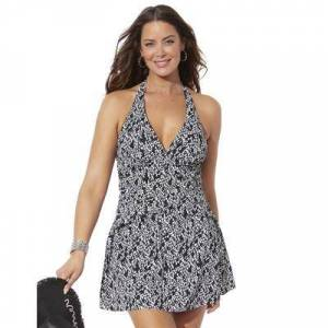 Swimsuits For All Plus Size Women's V-Neck Halter Swimdress by Swimsuits For All in Black White Dot (Size 14)
