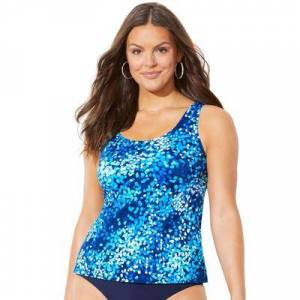 Swimsuits For All Plus Size Women's Classic Tankini Top by Swimsuits For All in Blue Sparks (Size 14)