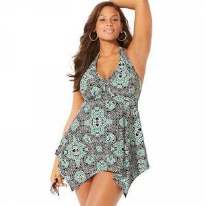 Swimsuits For All Plus Size Women's Handkerchief Halter Two-Piece Swimdress Set by Swimsuits For All in Mint Medallion (Size 14)