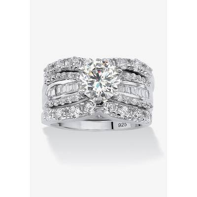 PalmBeach Jewelry Women's Platinum over Silver Bridal Ring Set Cubic Zirconia (5 5/8 cttw TDW) by PalmBeach Jewelry in Silver (Size 10)
