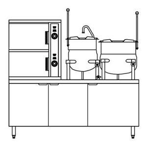 Crown Steam SCX-10-6-6 (10) Pan / (2) Kettle Convection Steamer - Cabinet, Steam Coil