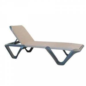 Grosfillex US891102 Nautical Pro Stackable Chaise - Espresso Fabric w/ Charcoal Resin Frame