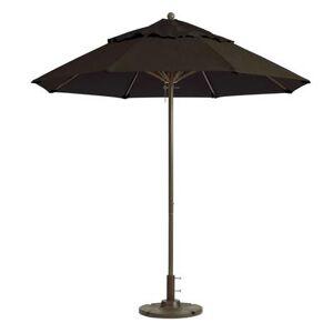 Grosfillex 98800231 9 ft Round Top Windmaster Umbrella - Charcoal Gray Fabric, Aluminum Pole