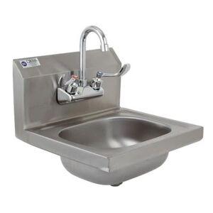 "Royal Industries ""Royal ROYHSW15 Wall Mount Commercial Hand Sink w/ 12 3/4""""L x 10""""W x 6""""D Bowl, Gooseneck Faucet"""