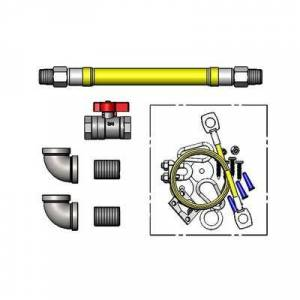"""T&S """"T&S HG-4F-36SK-FF 48"""""""" SwiveLink Gas Hose w/ Quick Disconnect & Cable Kit - 1 1/4"""""""" NPT"""""""