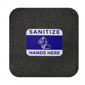 "M+A Matting ""M+A Matting 3074873 Sanitize Hands Here"""" Safety Floor Mat - 17"""" x 23 1/2"""", Adhesive Backin"""