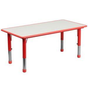 "Flash Furniture ""Flash Furniture YU-YCY-060-RECT-TBL-RED-GG Rectangular Preschool Activity Table - 47 1/4""""L x 23 5/8""""W, Plastic Top, Red/Gray"""
