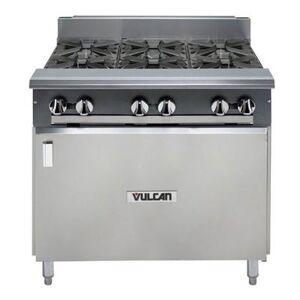 "Vulcan ""Vulcan V6B36B 36"""" 6 Burner Gas Range w/ Storage Base, Liquid Propane"""