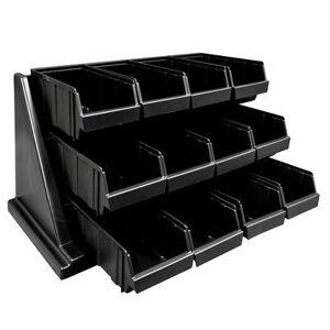 """Cambro """"Cambro 12RS12110 Condiment Organizer w/ (12) Bins, 21 3/8"""""""" x 25"""""""" x 14 1/4"""""""", Black"""""""