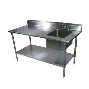 "John Boos ""John Boos EPT6R5-3060SSK-R 60"""" Prep Table w/ Right-Side Sink & Deck Mount Faucet, Stainless Undershelf"""