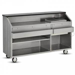 """FWE """"FWE CB-6 790960 Conventional Portable Bar, 72""""""""L, Stainless Int., Fusion Maple."""""""