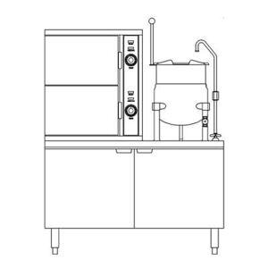 Crown Steam ECX-2-10 (6) Pan / (1) Kettle Convection Steamer - Cabinet, 208v/3ph