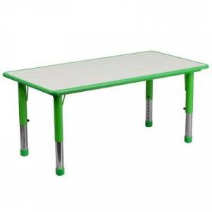 "Flash Furniture ""Flash Furniture YU-YCY-060-RECT-TBL-GREEN-GG Rectangular Preschool Activity Table - 47 1/4""""L x 23 5/8""""W, Plastic Top, Green/Gray"""