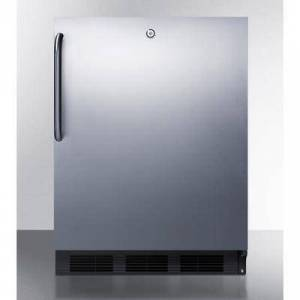 """Summit """"Summit FF7LBLKCSS 23 3/4""""""""W Undercounter Refrigerator w/ (1) Section & (1) Solid Door - Stainless Steel, 115v"""""""