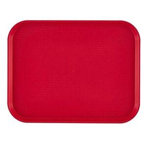 """Cambro """"Cambro 1216FF163 Plastic Fast Food Tray - 16 1/10"""""""" L x 11 4/5""""""""W, Red"""""""