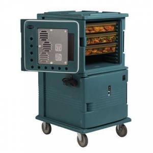 Cambro UPCHT1600HD192 Ultra Camcart? Insulated Food Carrier w/ (24) Pan Capacity, Granite Green, HD Casters, 110v