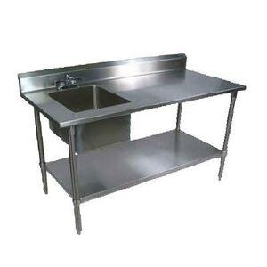 "John Boos ""John Boos EPT6R5-3072GSK-L 72"""" Prep Table w/ Left-Side Sink & Deck Mount Faucet, Galvanized Undershelf"""