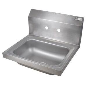 "John Boos ""John Boos PBHS-W-1410-4D Wall Mount Commercial Hand Sink w/ 14""""L x 10""""W x 5""""D Bowl, Basket Drain"""