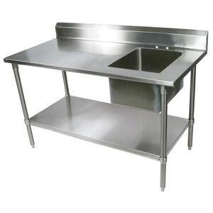 "John Boos ""John Boos EPT8R5-3072GSK-R 72"""" Work Table w/ (1) Right Bowl, Galvanized Legs"""