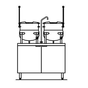 Crown Steam EMT-10-10 (2) 10 gal. Steam Kettles - Manual Tilt, 2/3 Jacket, 208v/3ph