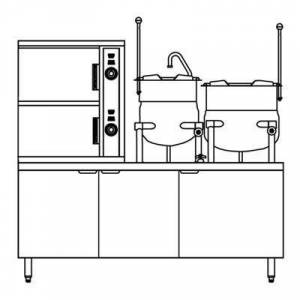 Crown Steam SCX-2-6-10 (6) Pan / (2) Kettle Convection Steamer - Cabinet, Steam Coil