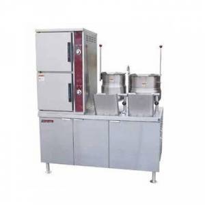 Crown Steam DCX-10-6-6 (10) Pan / (2) Kettle Convection Steamer - Cabinet, Direct Steam