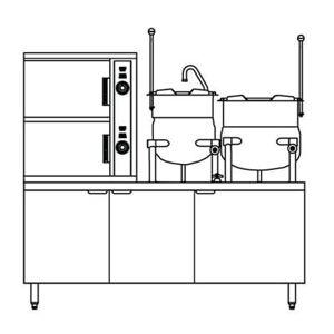 Crown Steam ECX-2-6-10 (6) Pan / (2) Kettle Convection Steamer - Cabinet, 208v/3ph