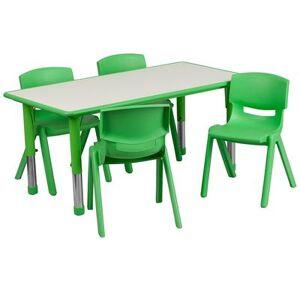 "Flash Furniture ""Flash Furniture YU-YCY-060-0034-RECT-TBL-GREEN-GG Preschool Activity Table & (4) Chair Set - 47 1/4""""L x 23 5/8""""W, Plastic Top, Green/Gray"""