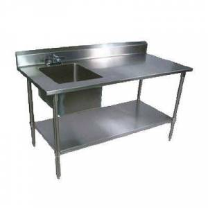 "John Boos ""John Boos EPT6R5-3060GSK-L 60"""" Prep Table w/ Left-Side Sink & Deck Mount Faucet, Galvanized Undershelf"""