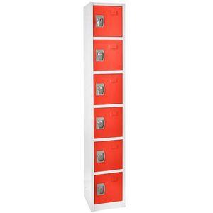 "Alpine Industries 629-206-RED Six Section Locker w/ (6) Hooks - 12""""W x 12""""D x 72""""H, Steel, Red"""