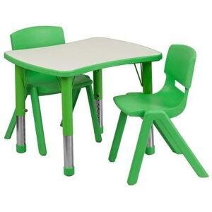"Flash Furniture ""Flash Furniture YU-YCY-098-0032-RECT-TBL-GREEN-GG Preschool Activity Table & (2) Chair Set - 26 5/8""""L x 21 7/8""""W, Plastic Top, Green/Gray"""