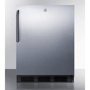 "Summit ""Summit FF7LBLKCSSADA 23 3/4""""W Undercounter Refrigerator w/ (1) Section & (1) Solid Door - Stainless Steel, 115v"""