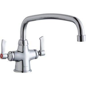 "Elkay ""Elkay LK500AT14L2 Deck Mount Double Pantry Faucet w/ 14"""" Arched Swing Spout & 2"""" Lever Handles"""
