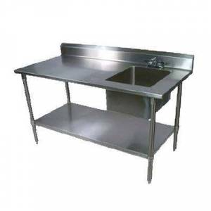 "John Boos ""John Boos EPT6R5-3060GSK-R 60"""" Prep Table w/ Right-Side Sink & Deck Mount Faucet, Galvanized Undershelf"""